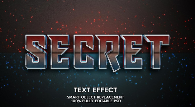 Modelo de efeito de texto secreto Psd Premium