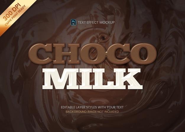 Modelo de efeito de texto simples logotipo de chocolate e leite