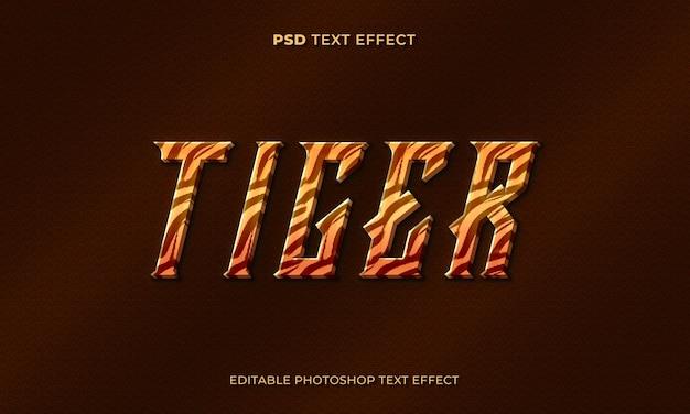 Modelo de efeito de texto tigre 3d