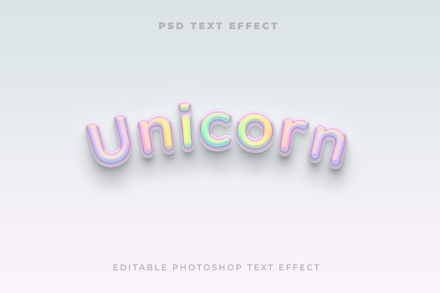 Modelo de efeito de texto unicórnio 3d com efeito gradiente