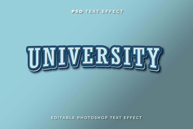 Modelo de efeito de texto universitário com cor azul