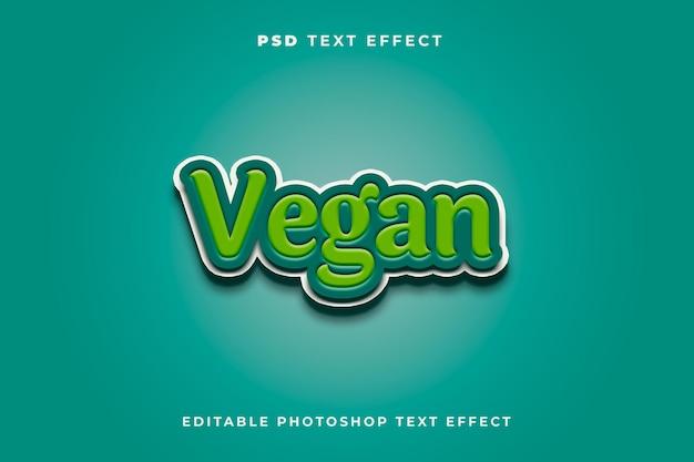 Modelo de efeito de texto vegan com cor verde