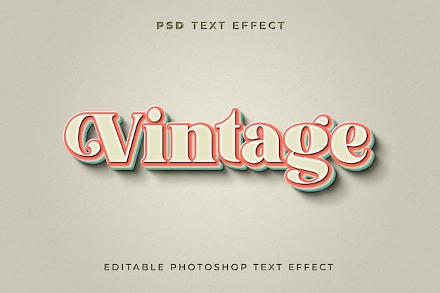 Modelo de efeito de texto vintage 3d com fundo branco