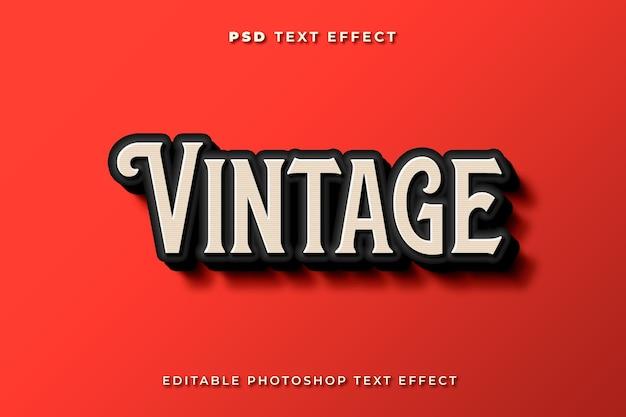 Modelo de efeito de texto vintage 3d com fundo vermelho