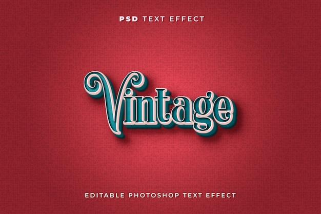 Modelo de efeito de texto vintage com cores vermelho e azul