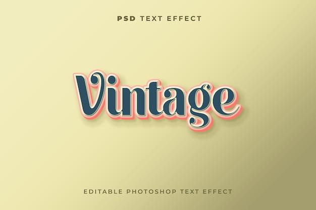 Modelo de efeito de texto vintage cor azul escuro