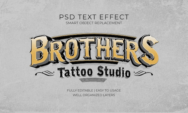 Modelo de efeito de texto vintage do brothers tattoo studio