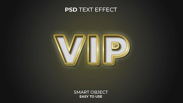 Modelo de efeito de texto vip com cores ouro e branco