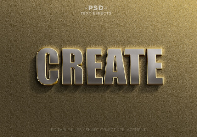 Modelo de efeitos de texto 3d de prata dourada realista