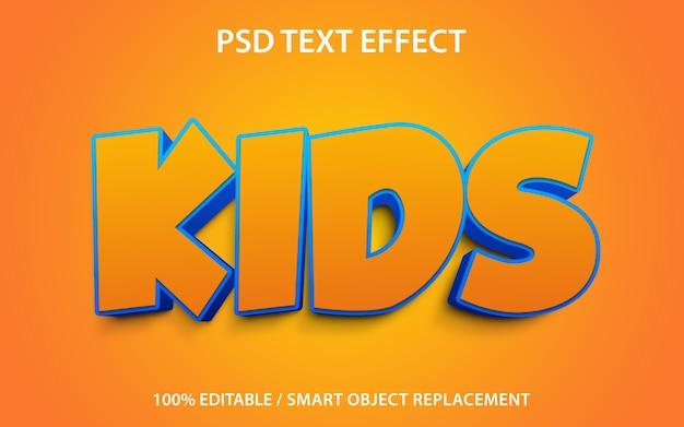 Modelo de efeitos de texto editável para crianças