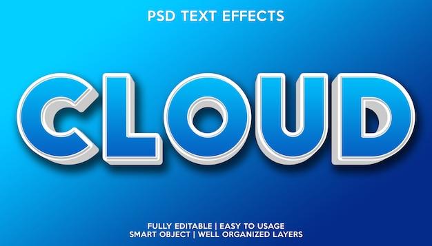 Modelo de efeitos de texto na nuvem