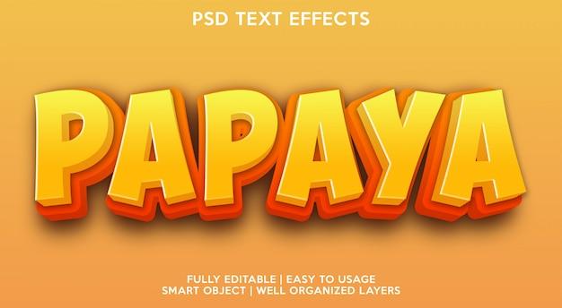Modelo de efeitos de texto papaya