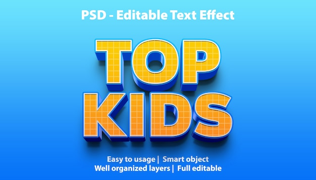 Modelo de efeitos de texto para crianças