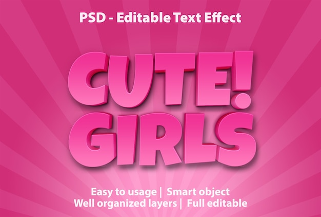 Modelo de efeitos de texto para meninas bonitas