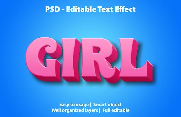 Modelo de efeitos de texto para meninas