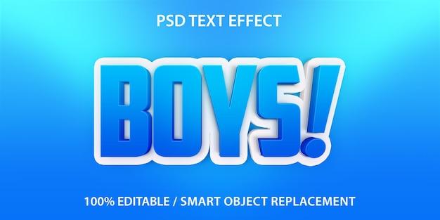Modelo de efeitos de texto para meninos