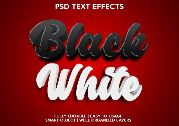 Modelo de efeitos de texto preto e branco
