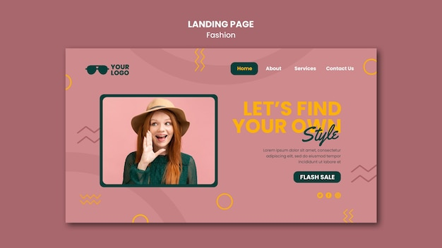 Modelo de empresa de moda para página de destino