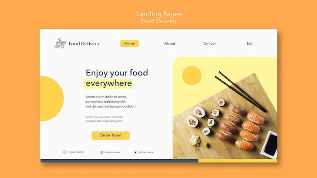 Modelo de entrega de comida na página de destino