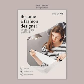 Modelo de escola de design de moda em pôster