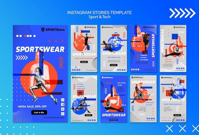 Modelo de esporte e tecnologia para histórias do instagram