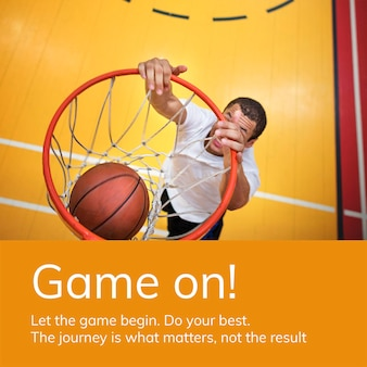 Modelo de esportes de basquete anúncio de mídia social psd motivacional psd