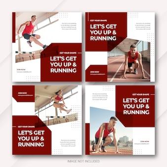 Modelo de esportes do atleta do pacote de postagem do instagram