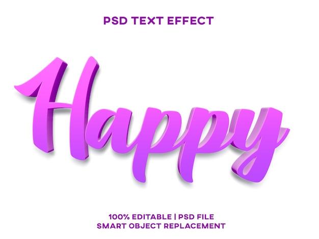 Modelo de estilo de efeito de texto feliz