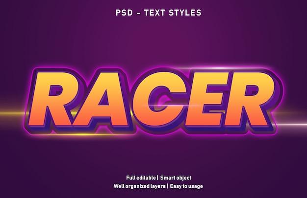 Modelo de estilo de efeitos de texto do racer