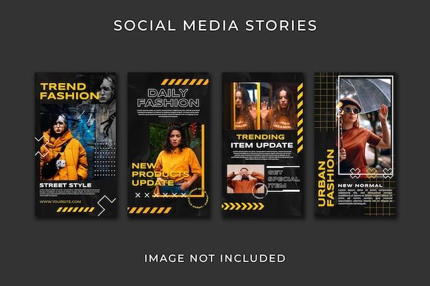 Modelo de estilo de moda para coleção de histórias do instagram