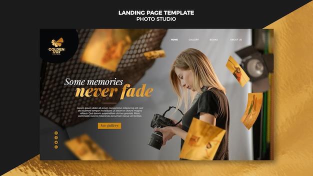 Modelo de estúdio fotográfico da página de destino