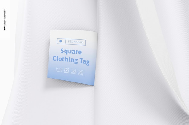Modelo de etiqueta de roupa quadrada