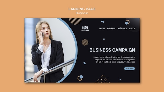 Modelo de evento de negócios da página de destino