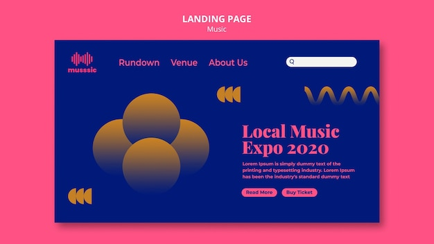 Modelo de exposição musical da página de destino