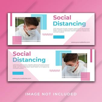 Modelo de facebook de capa de banner de distanciamento social