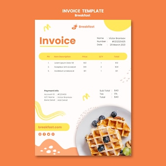 Modelo de fatura de café da manhã saboroso