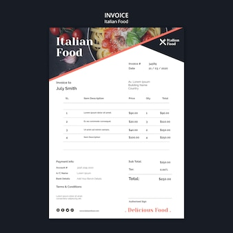 Modelo de fatura de conceito de comida italiana