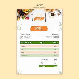 Modelo de fatura de restaurante de café da manhã