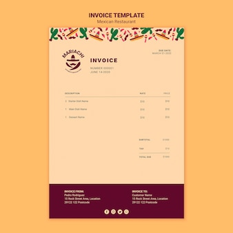 Modelo de fatura de restaurante de pratos tradicionais mexicanos