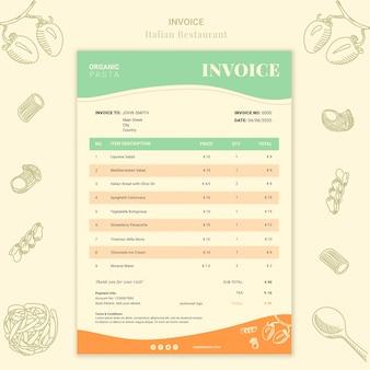 Modelo de fatura de restaurante italiano
