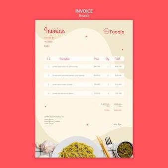 Modelo de fatura para restaurante