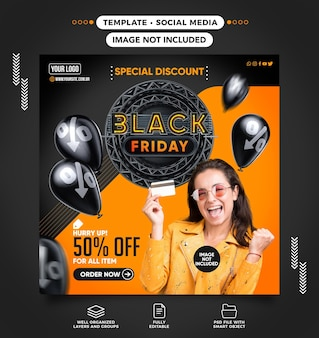 Modelo de feed de banner de descontos especiais da black friday