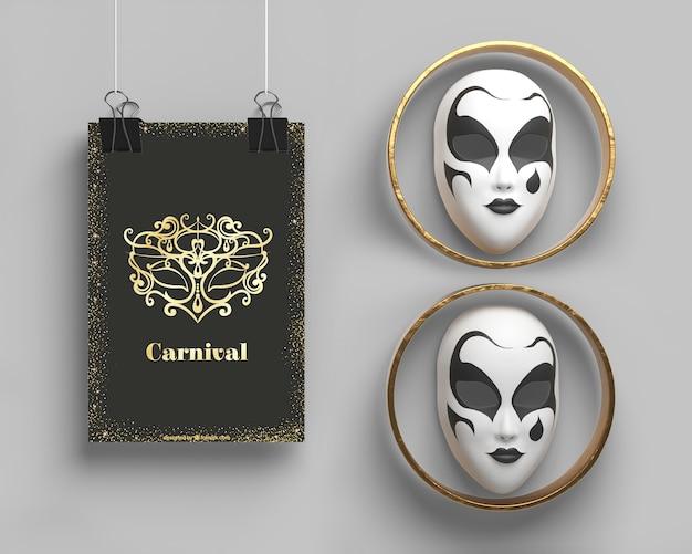 Modelo de festa de máscaras e máscaras em anéis