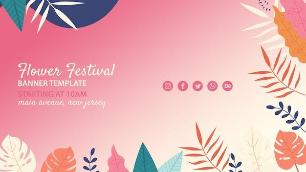 Modelo de festival de flor desenhada de mão