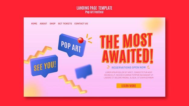 Modelo de festival de pop art da página de destino