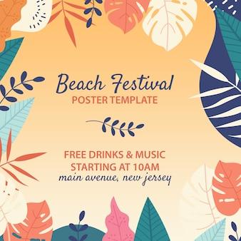 Modelo de festival de praia desenhada de mão