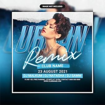 Modelo de flyer para festa de clube de remix urbano