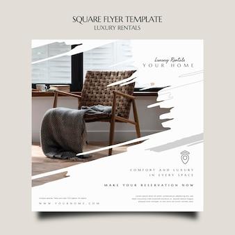 Modelo de flyer quadrado de aluguel de luxo