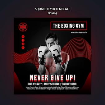 Modelo de flyer quadrado de boxe com foto