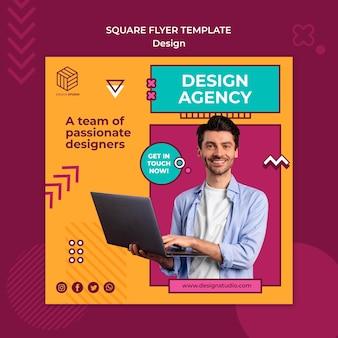 Modelo de flyer quadrado de estúdio de design